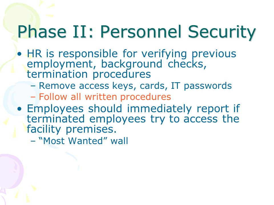 Phase II: Personnel Security