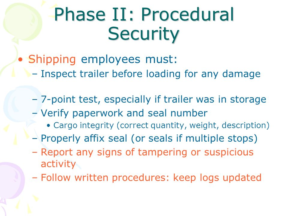 Phase II: Procedural Security