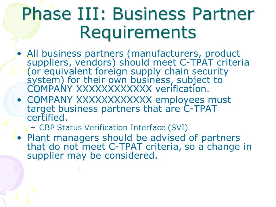 Phase III: Business Partner Requirements