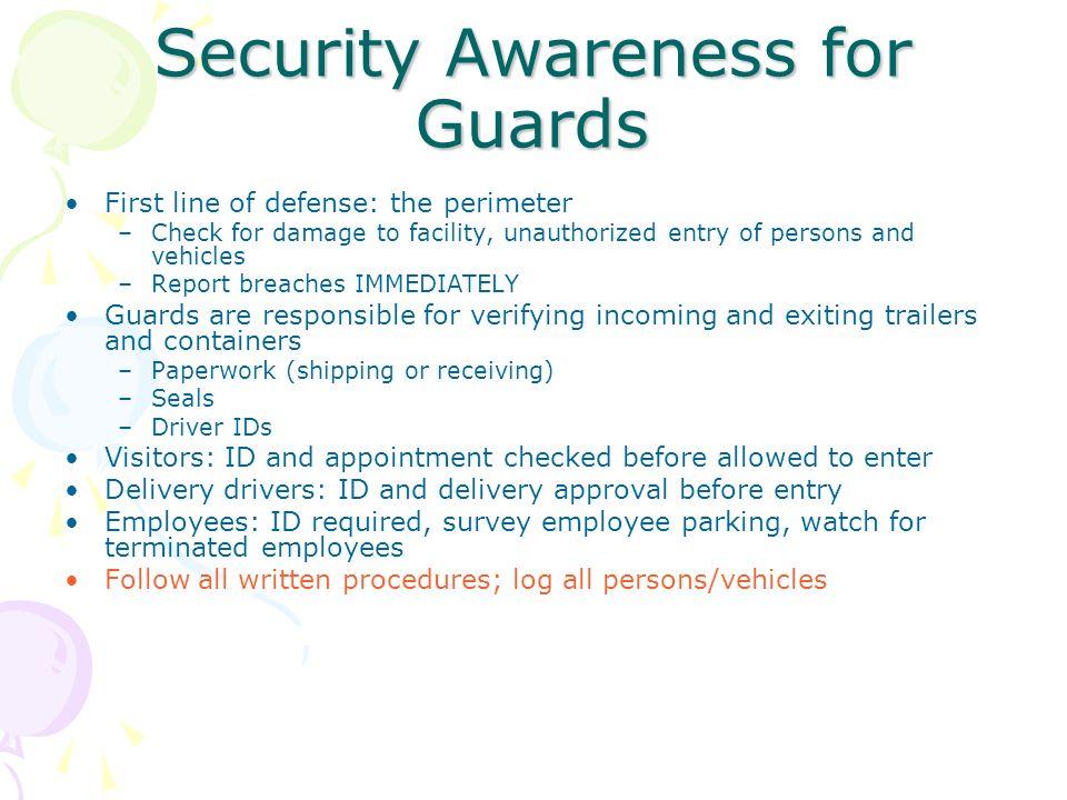 Security Awareness for Guards