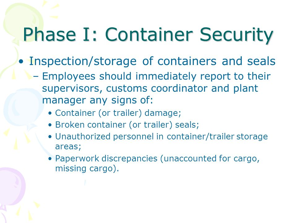 Phase I: Container Security
