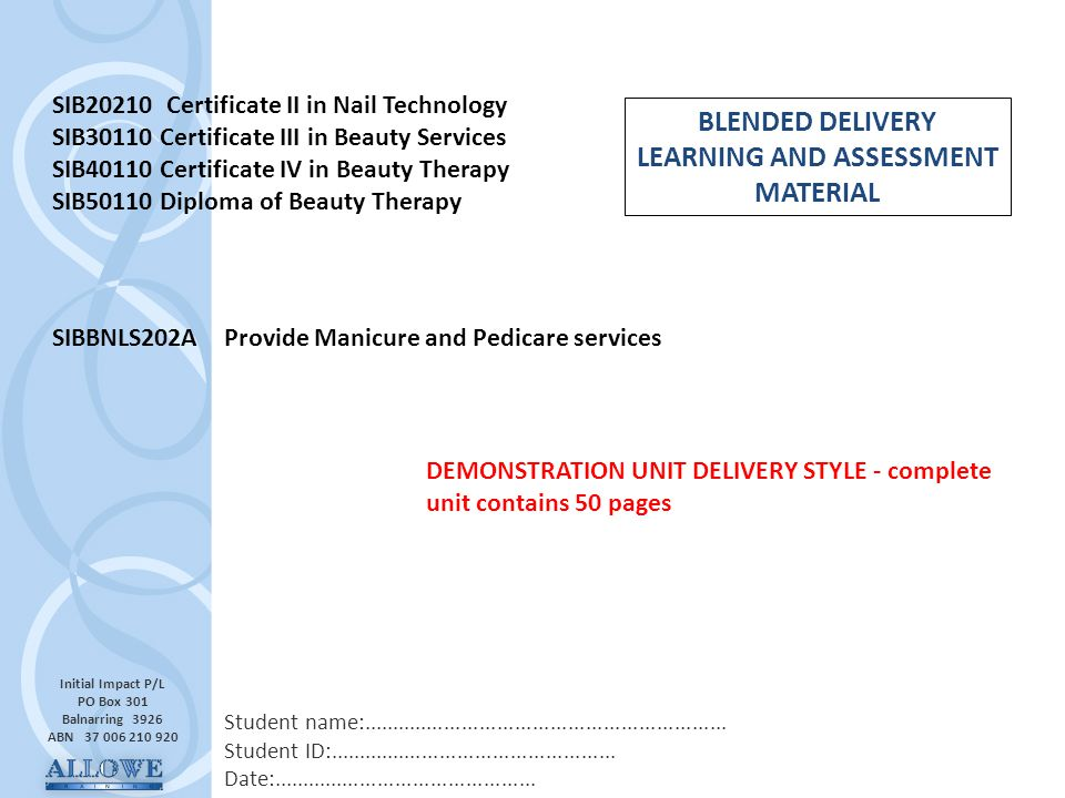 BLENDED DELIVERY LEARNING AND ASSESSMENT MATERIAL