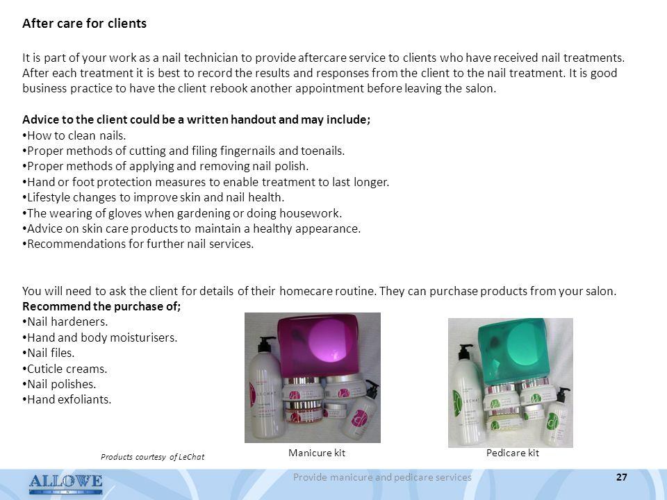 Provide manicure and pedicare services