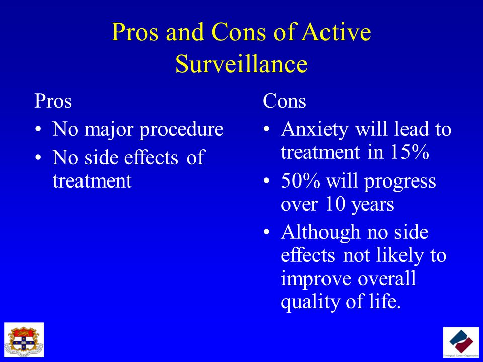 Pros and Cons of Active Surveillance