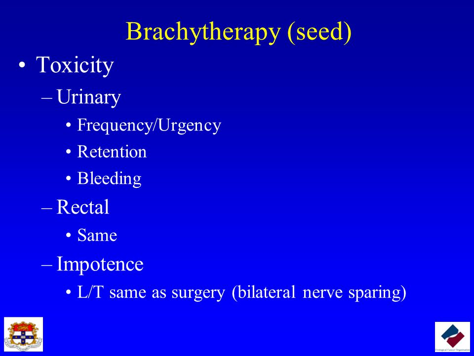 Brachytherapy (seed) Toxicity Urinary Rectal Impotence