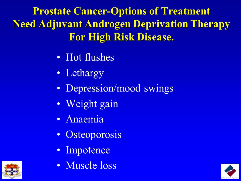 Prostate Cancer-Options of Treatment Need Adjuvant Androgen Deprivation Therapy For High Risk Disease.