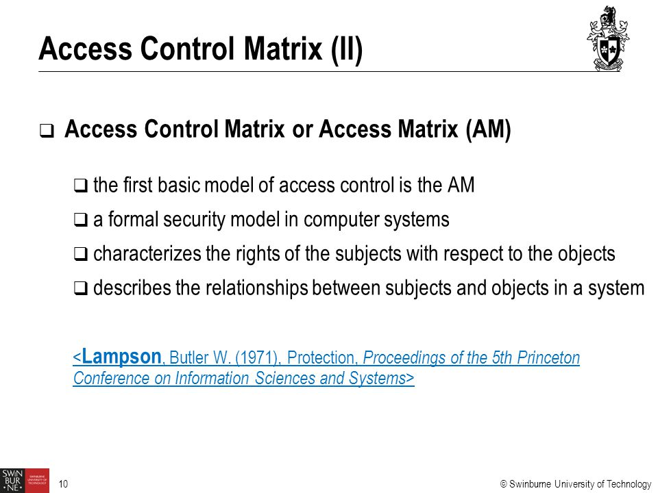 Access Control Matrix (II)