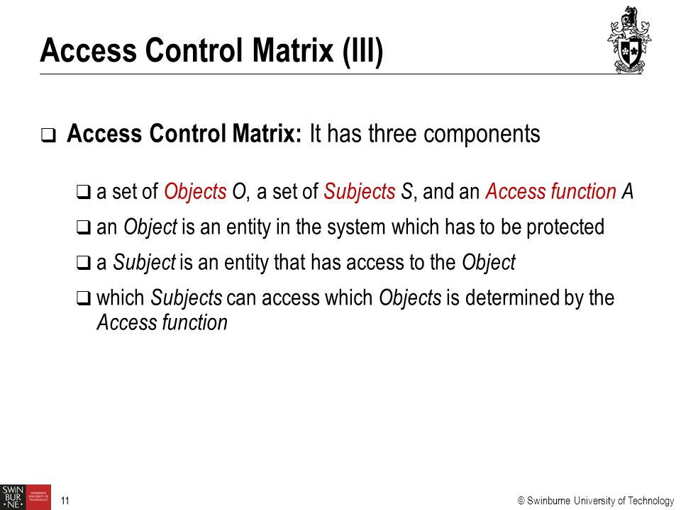 Access Control Matrix (III)
