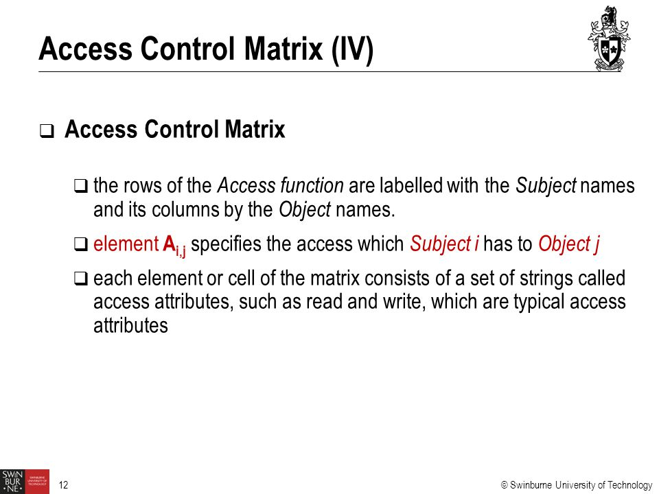 Access Control Matrix (IV)