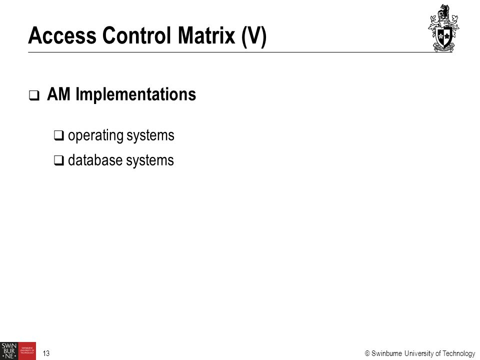 Access Control Matrix (V)