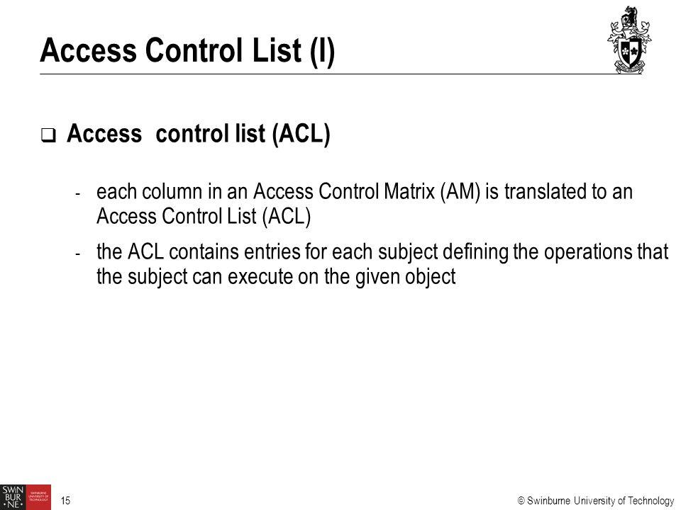 Access Control List (I)