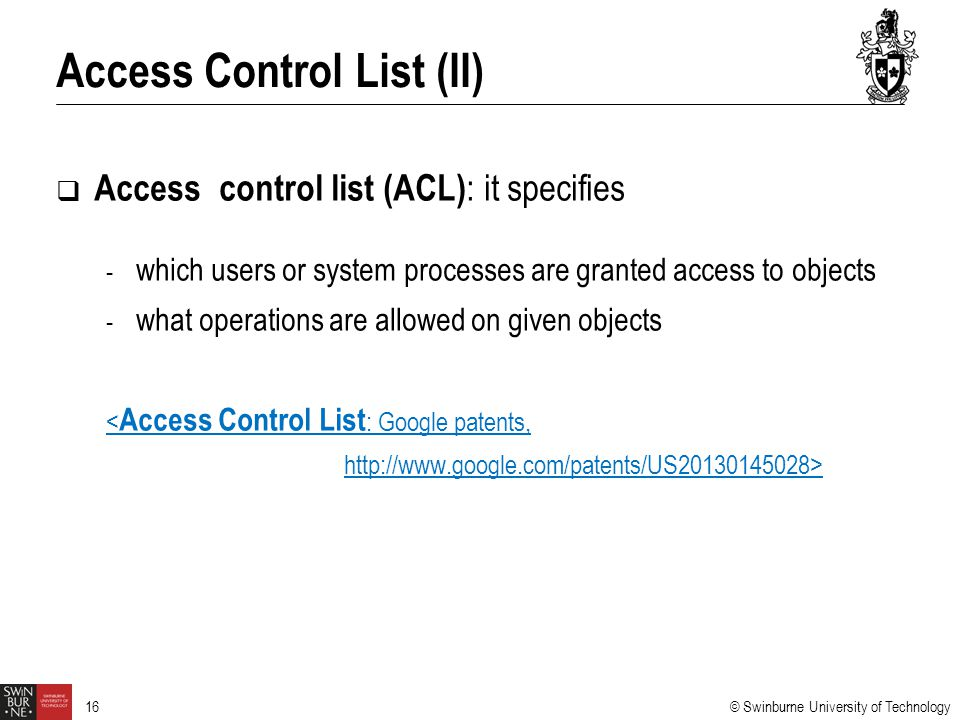 Access Control List (II)