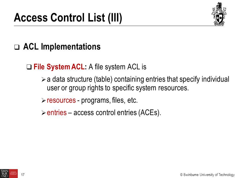 Access Control List (III)