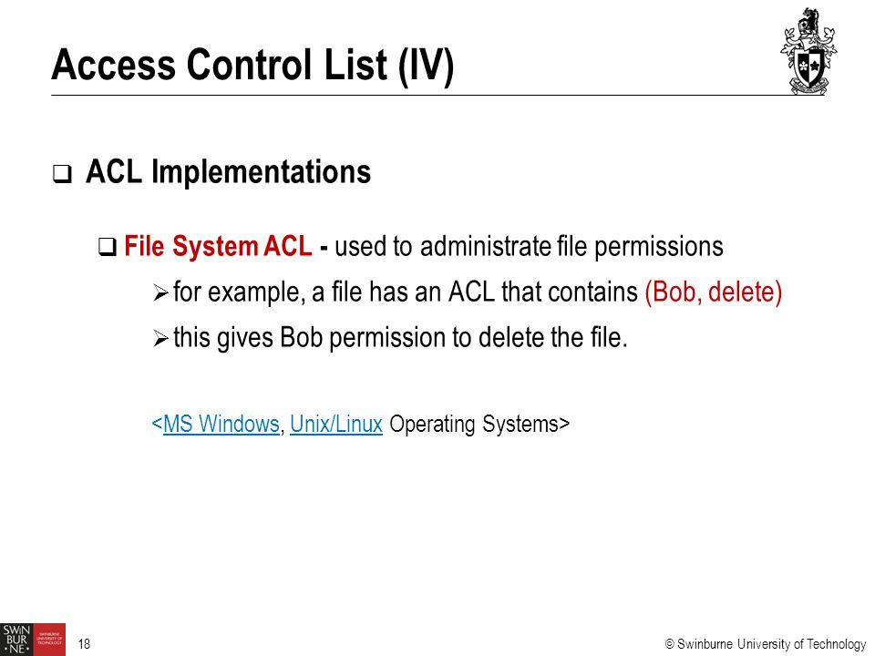 Access Control List (IV)
