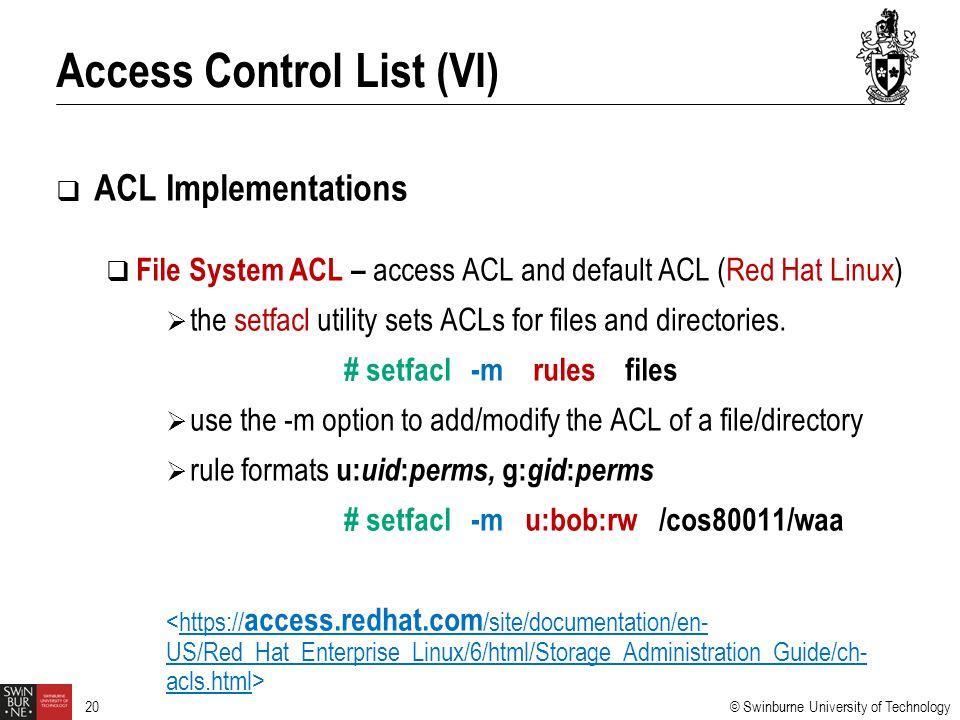 Access Control List (VI)