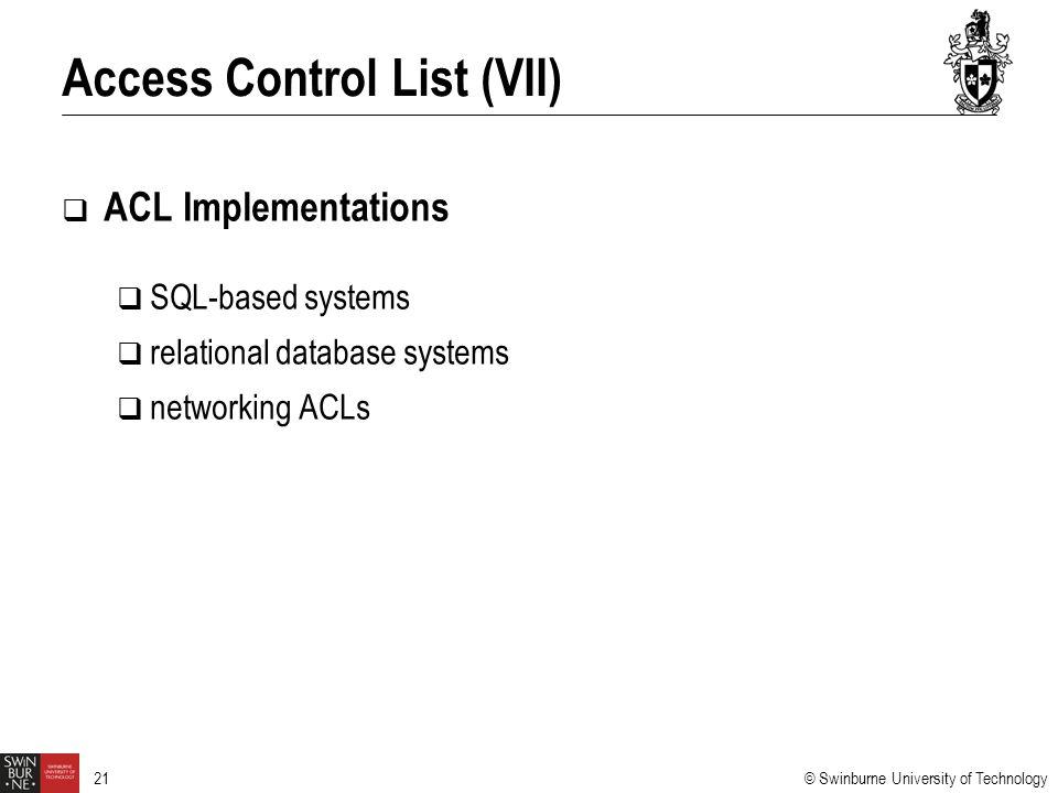 Access Control List (VII)