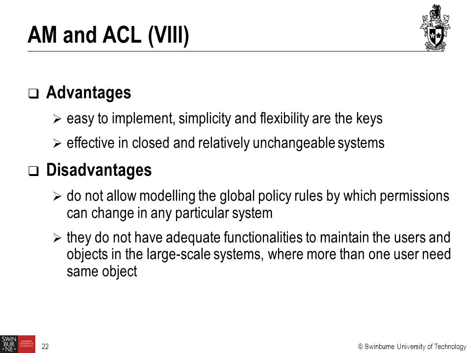 AM and ACL (VIII) Advantages Disadvantages