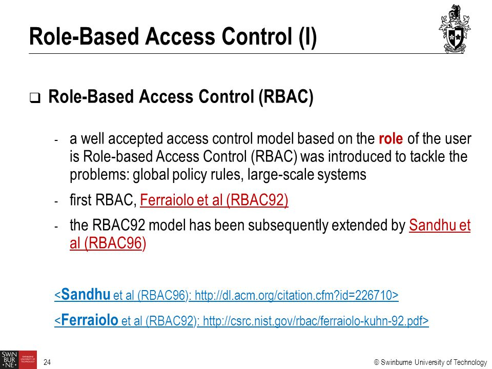 Role-Based Access Control (I)