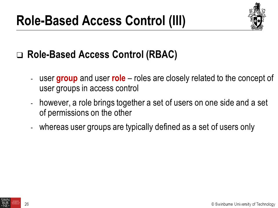 Role-Based Access Control (III)