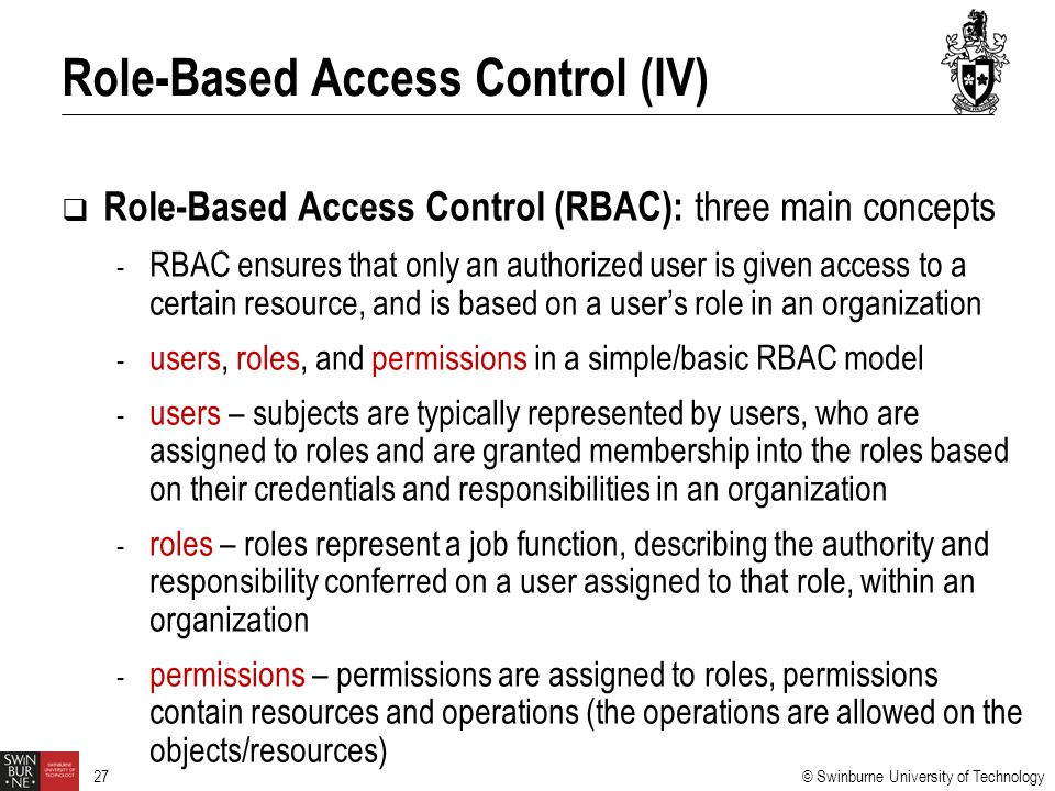Role-Based Access Control (IV)