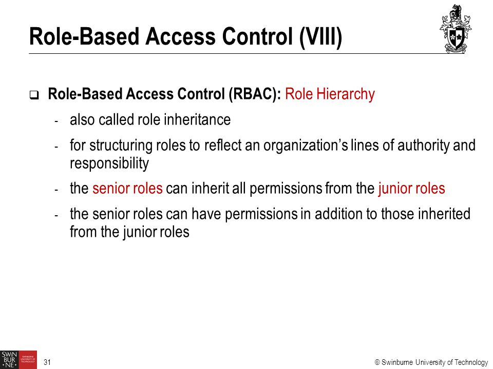 Role-Based Access Control (VIII)