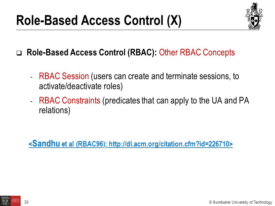 Role-Based Access Control (X)