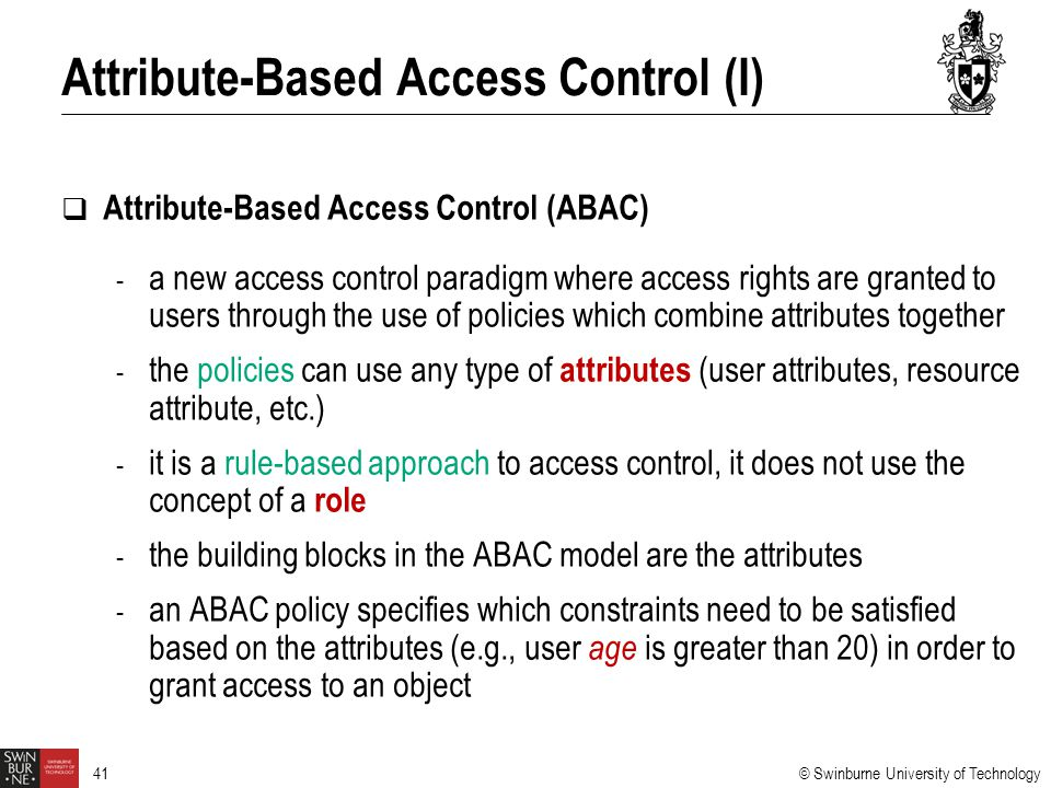 Attribute-Based Access Control (I)