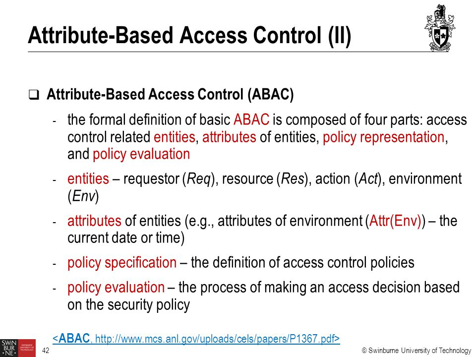 Attribute-Based Access Control (II)