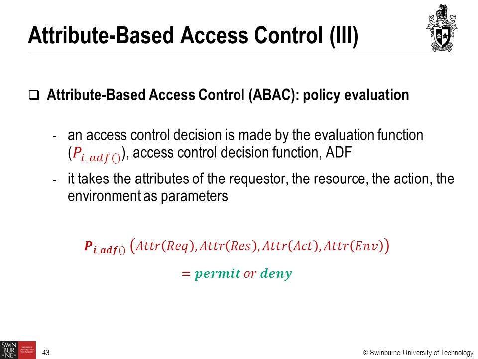 Attribute-Based Access Control (III)