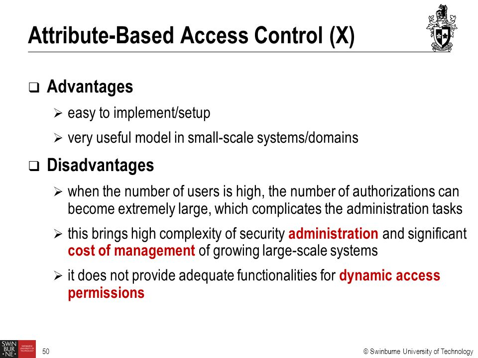 Attribute-Based Access Control (X)