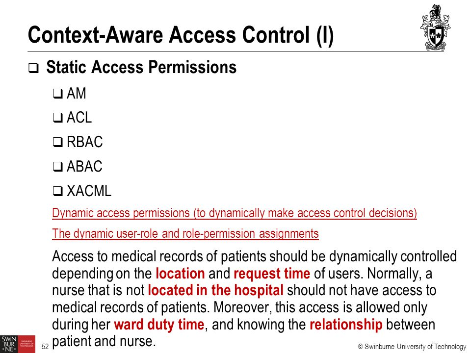 Context-Aware Access Control (I)