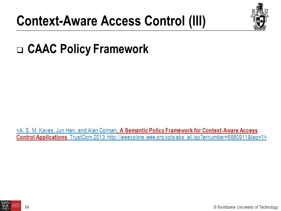 Context-Aware Access Control (III)