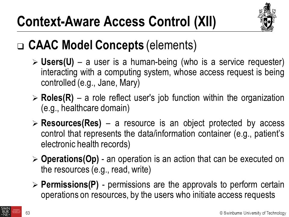 Context-Aware Access Control (XII)