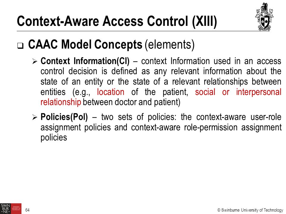 Context-Aware Access Control (XIII)