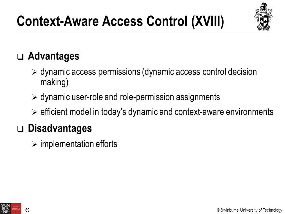 Context-Aware Access Control (XVIII)
