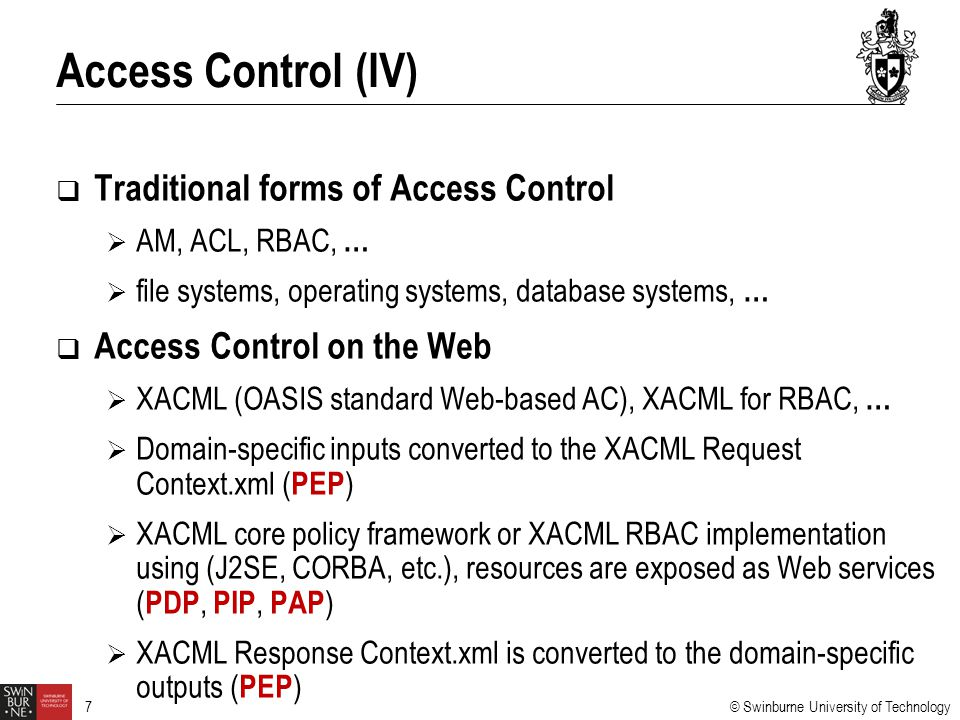 Access Control (IV) Traditional forms of Access Control