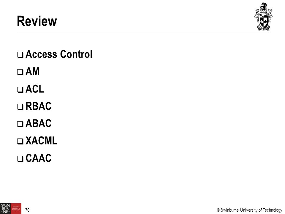 Review Access Control AM ACL RBAC ABAC XACML CAAC 4/6/2017