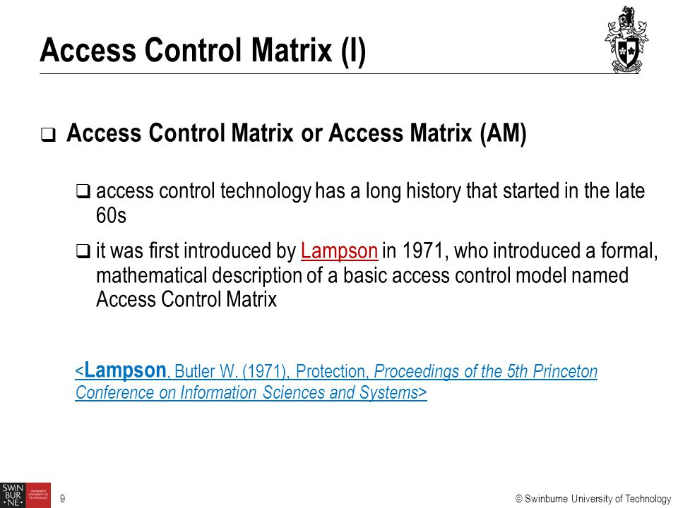 Access Control Matrix (I)
