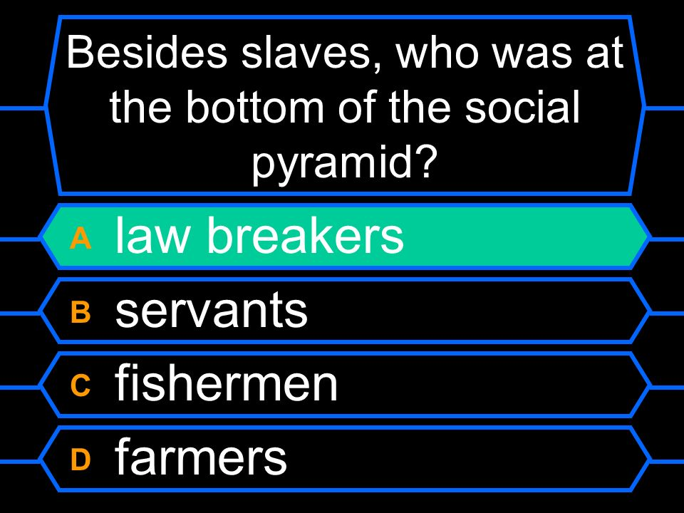 Besides slaves, who was at the bottom of the social pyramid