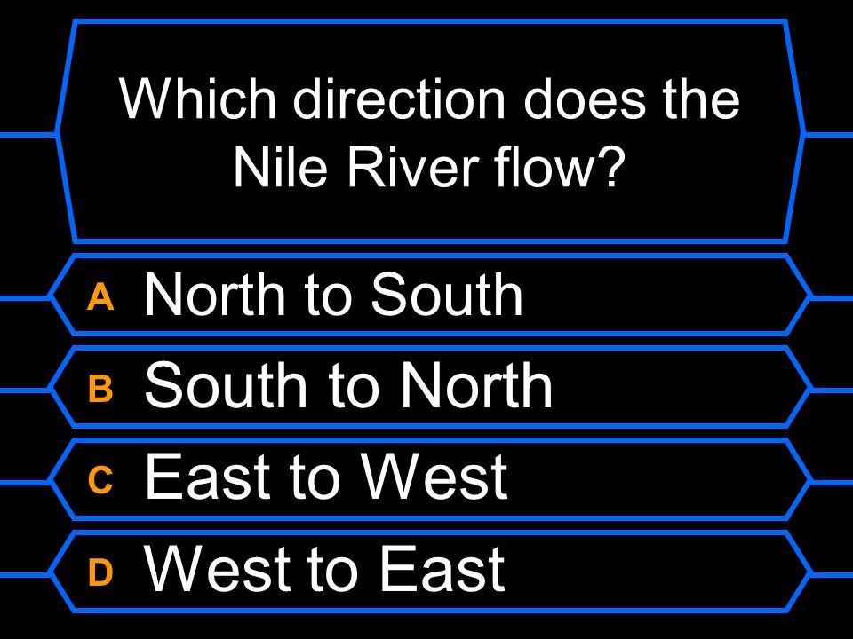 Which direction does the Nile River flow