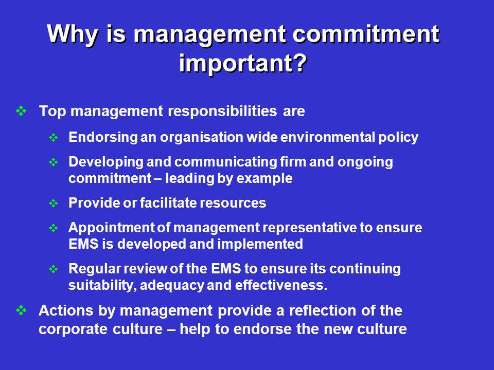 Why is management commitment important