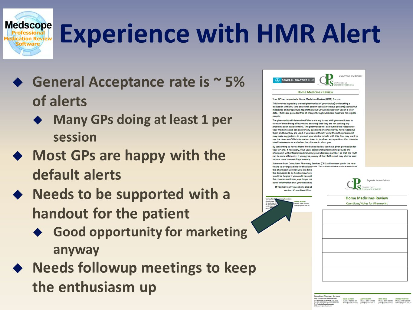 Experience with HMR Alert