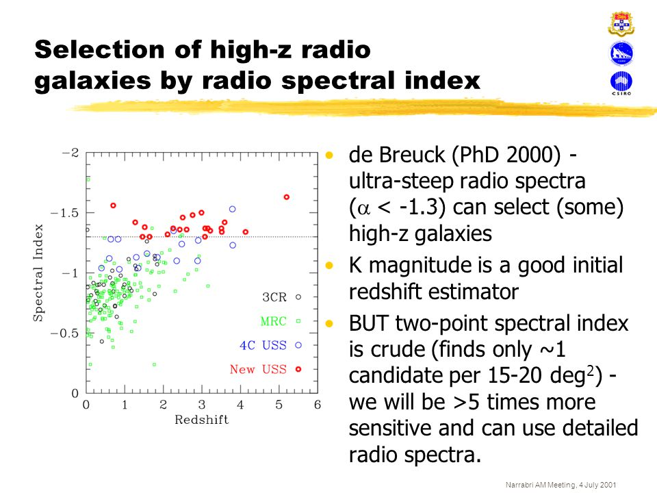 Selection of high-z radio galaxies by radio spectral index
