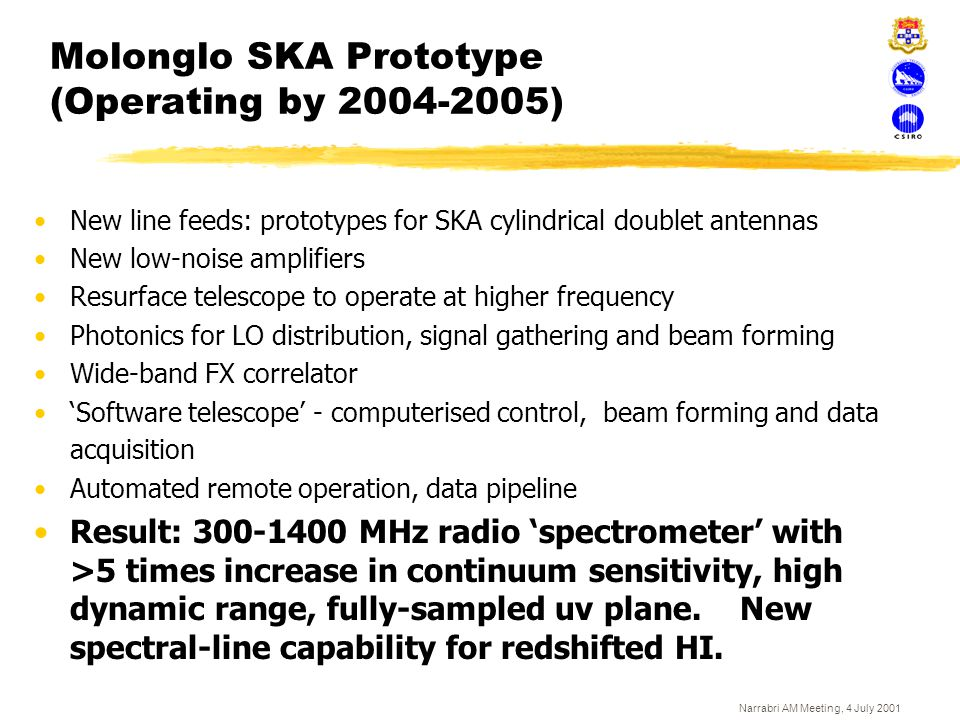 Molonglo SKA Prototype (Operating by 2004-2005)