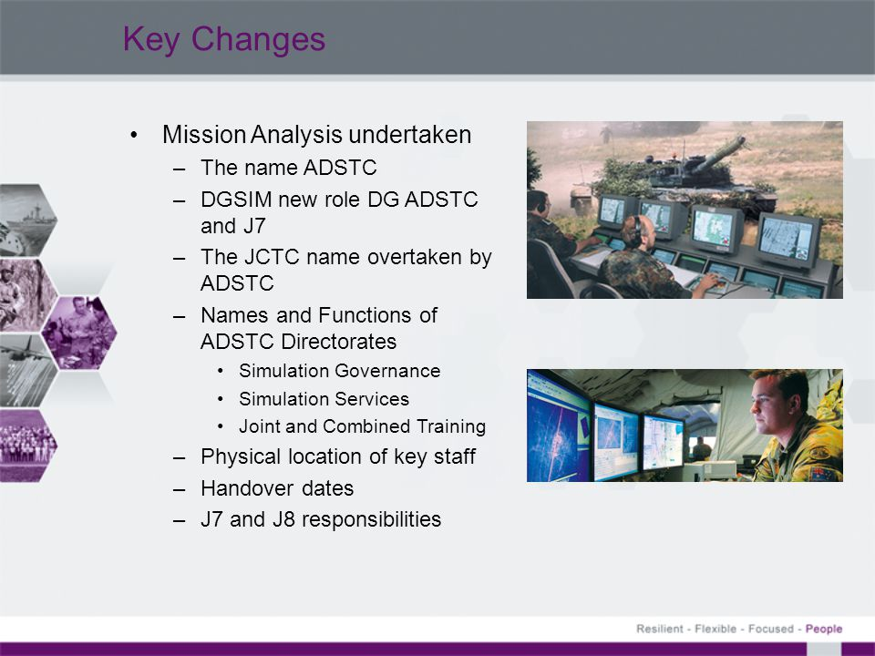 Key Changes Mission Analysis undertaken The name ADSTC