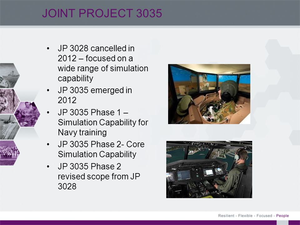 JOINT PROJECT 3035 JP 3028 cancelled in 2012 – focused on a wide range of simulation capability. JP 3035 emerged in 2012.