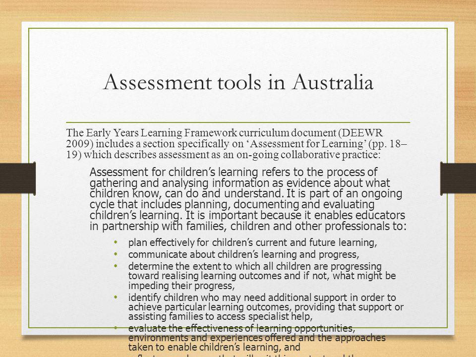 Assessment tools in Australia