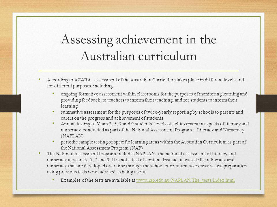 Assessing achievement in the Australian curriculum