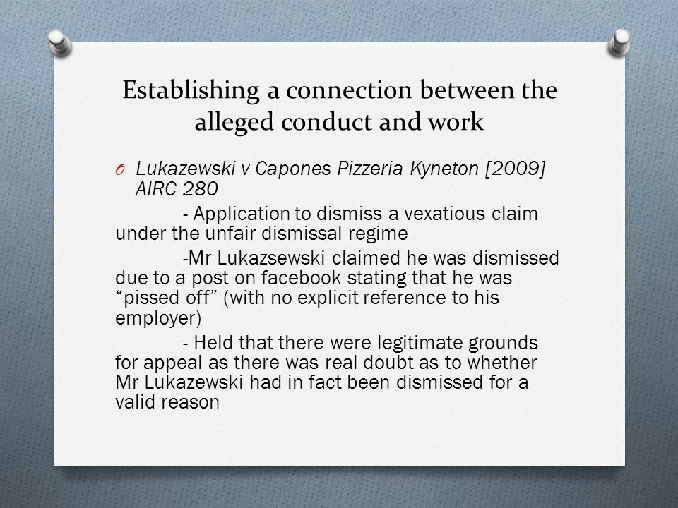Establishing a connection between the alleged conduct and work