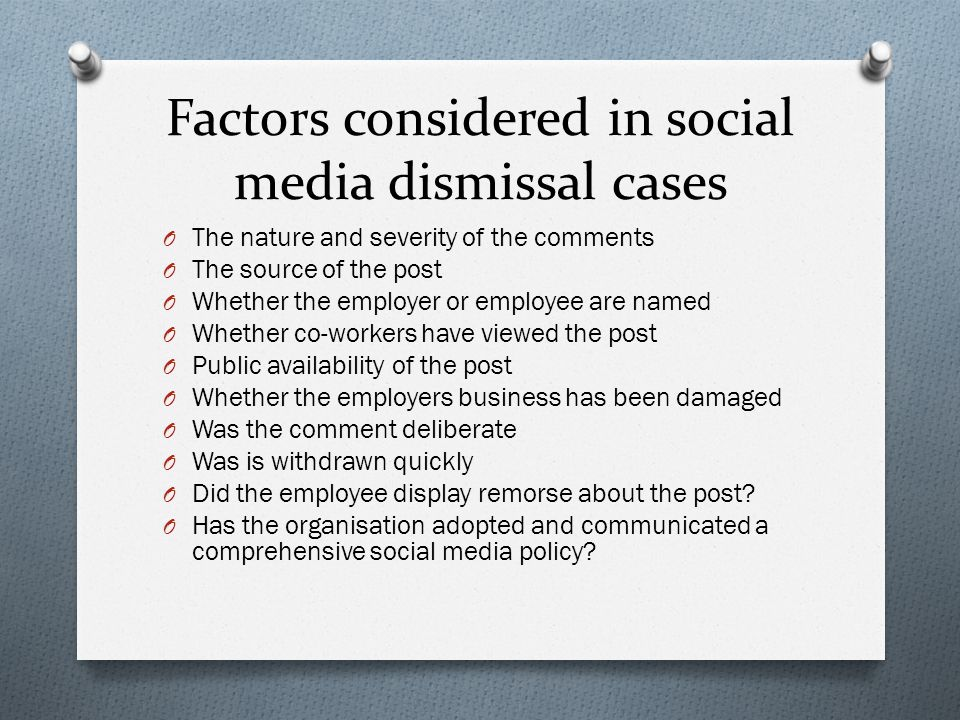 Factors considered in social media dismissal cases